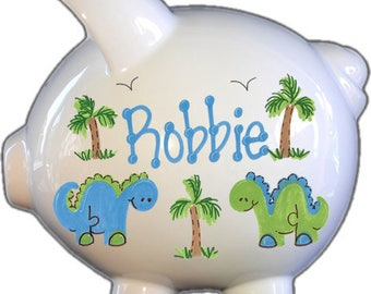 Personalized Piggy Bank with Dino Design | White | Blue and Green | Large | Baby Gift |
