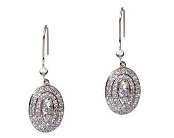 Silver Oval Drop CZ Earrings