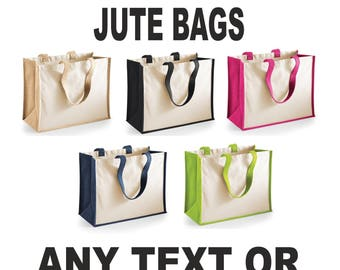 Personalised Custom Printed Classic Jute Tote Canvas Shopping Bag Beach Holiday Secret Santa Xmas Gift Tumblr Pintrest