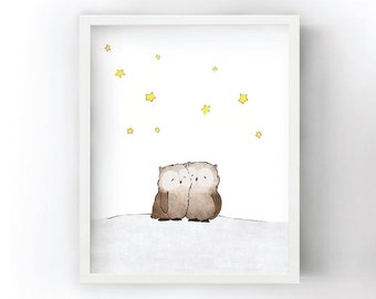 Owls Napping Art Print