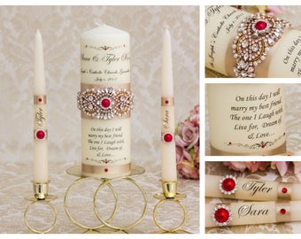 Champagne and Red Unity Candle Set Red Gold Wedding Unity Candles Ivory Wedding Candle Personalized Unity Candle Rhinestone Unity Candle