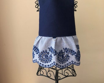Dog harness dress - navy blue