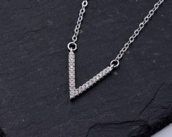 Sterling Silver Minimalist Geometric V shaped Chevron Necklace with Sparkly Crystals  z73