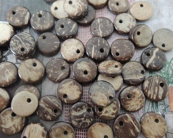 60Pcs 12mm Coconut  Circle with one hole Coconut  charm (W573)