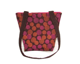 Polka Dot Purse, Small Tote Bag, Brown Fabric Bag, Cloth Purse, Handmade Handbag, Pink, Orange Polkadots, Teen Purse, Shoulder Bag