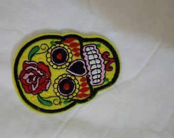 Yellow day of the dead skull iron on patch