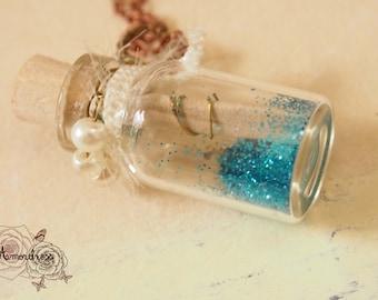 MAGIC SEA KEEPSAKE: baby pearl with mix of blue pixie dust bottle necklace sea keepsake miniature decor  best friend gift inspired piece