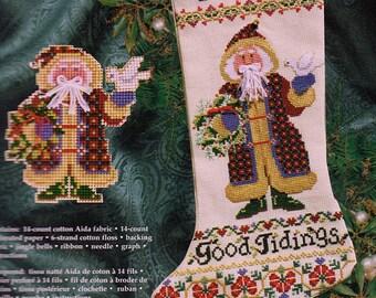 Janlynn #93-333, counted cross stitch kit, Good Tidings Stocking by Sandy Cozzolino, unopened cross stitch kit, Christmas, needlework, gift