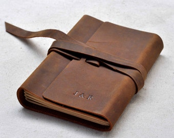 Personalized Leather Journal Notebook brown leather  (Free stamp)