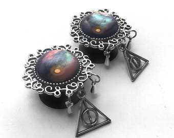 "Ear Plugs with dangle Deadly hallows pendant, ear gauges Silver with dark pearl (12mm, 14mm, 16mm, 18mm, 20mm , 1/2"", 9/16"", 11/16"", 13/16"")"