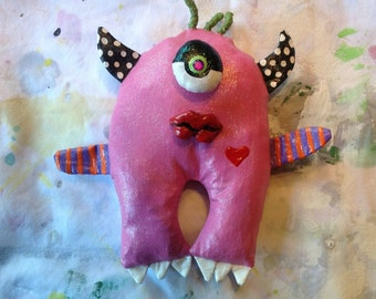 Pink One Eye Monster Wall Doll