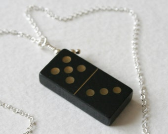 Vintage Wooden Domino 5 3 Charm Necklace Sterling Silver