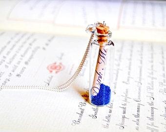 "Alice in wonderland message in a bottle ""Drink Me"" long necklace"