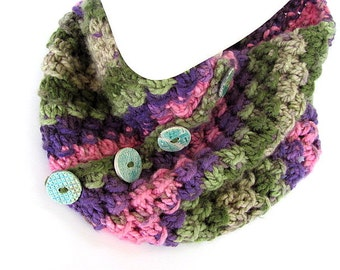 Sage and Pink Button Cowl FREE US Shipping