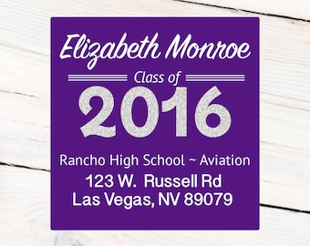 Graduation Address Labels Personalized Labels, Custom Labels, Class of 2016 Purple Stickers, Graduation