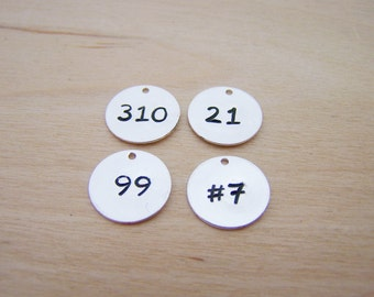 Number Charm - Silver Number Disc - Number Disc - Hand Stamped Disc - Handmade Charm - DIY Charm - Jewelry Findings