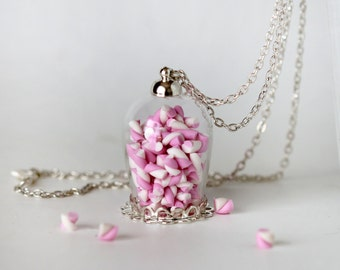 Candy jar Necklace - Marshmallow Necklace - Bottle  Necklace - Miniature Food Jewelry - Food Necklace