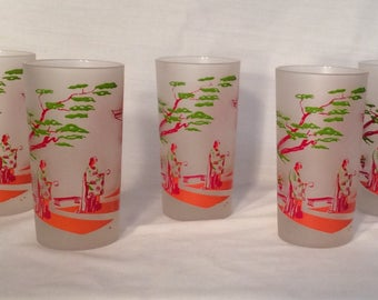 Asian painted frosted glass set of 5 vintage glasses geisha pagoda MCM mid century tiki bar home bar man cave gift housewarming