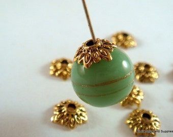 50 Antique Gold Bead Caps Flower Tibetan Style 7mm - 50 pc - F4113BC-AG50