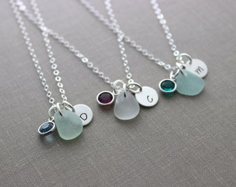 Genuine Sea Glass Initial Jewelry, Sterling Silver Personalized Mini Monogram Necklace with Birthstone - Bridesmaid Set - Customized
