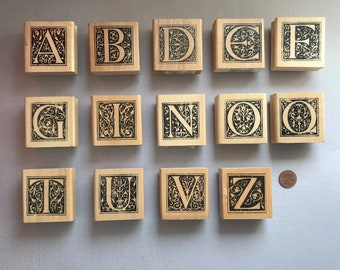 Monogram Alphabet Letter Rubber Stamps