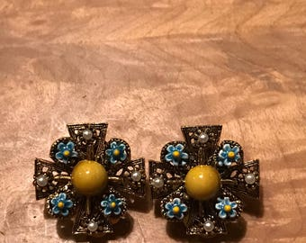 Vintage Enamel Clip On Earrings LJM Laurentian Jewelery Manufacturing
