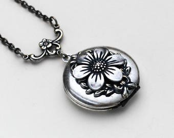 Necklace for Women Floral Jewelry, Flower Necklace Locket, Locket Pendant Photo Locket, Flower Locket Necklaces For Women, Silver Locket