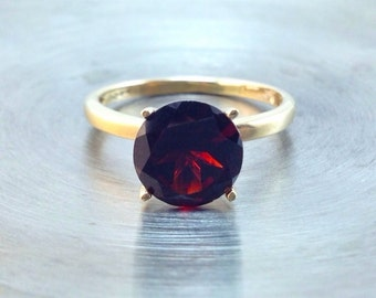 Gold Ring with Garnet Gemstone, 14k Yellow Gold Ring, January Birthstone, Wedding Ring, Promise Ring, Engagement Ring