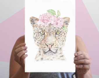Leopard Drawing, Wildlife Art, Realistic Drawing of a Big Cat with Flower Crown, Mother's Day Gft | A3, A4, 8x10 Giclee Print