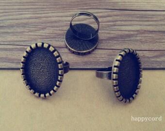 10pcs Adjustable antique bronze Ring Blanks tray 18mmx25mm