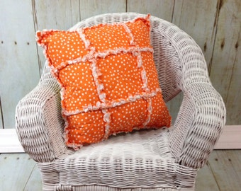 Rag Pillow- Bright Orange &Yellow