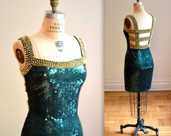Vintage 90s Sequin Dress Medium// 90s Prom Body Con Dress Medium