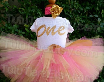 Pink and Gold Birthday Tutu Set Shirt and Tutu Skirt Girls First Birthday Outfit Personalized Name 1st Birthday ONE One Piece Baby Bodysuit