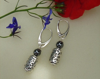 925 Silver and Hematite earrings!