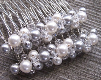 Silver and Lace Bridal Hair Comb with Swarovski Pearls and Crystals