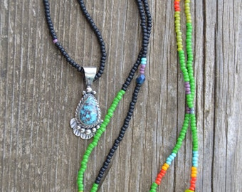 Vintage turquoise sterling silver pendant bead strand