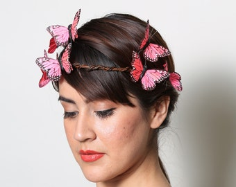 Bright Pink Butterfly Crown - Wedding, bride, fantasy, woodland