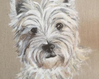 Westie, West Highland White Terrier, Dog, Portrait, Custom, HandPainted, Original, OilPainting, Art