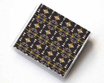 Vinyl Moo Square Card Holder - Aztec2 / vinyl, snap, mini card case, moo case, small, square, gift, boho, aztec, tribal, bohemian