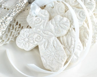 Baptism Favors Imprinted Cross with Ribbon Baptism Favors Set of 6 Salt Dough Napkin Ring / Tie Ornaments