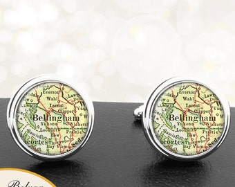 Map Cufflinks Bellingham WA Cuff Links State of Washington for Groomsmen Wedding Party Fathers Dads Men