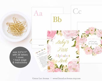 "Pink Peony Alphabet Book Baby Shower Activity Game 8.5""x11"" Baby's First Alphabet Book, book baby, DIY ABC book printable"
