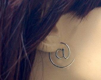 "Silver ""At"" Sign Earrings, ""At"" Symbol Hoop Earings, Sterling Silver @ Thread Through Earrings, Geek Jewelry, Email & Twitter Symbol"