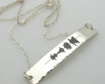 Personalized Sound Wave Necklace - New mom Gift - One Of Kind Gift Idea - SoundWave Jewelry - Voice Wave Necklace - Sterling Silver Jewelry