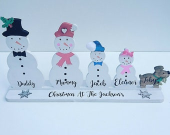 Snow Family/ Snowman Family/ Snowman Family Decoration/ Personalised Christmas Decoration/ Family Christmas Decoration/ Christmas 2018