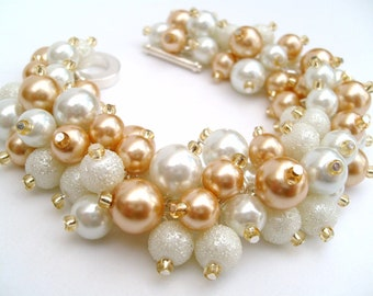 Pearl Bracelet, White and Champagne Gold, Bridal Bracelet, Bridal Jewelry, Wedding, Pearl Bridesmaid Bracelet, Cluster Bracelet