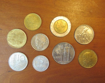 Italy 9 coin lot,all different, mostly 1950's thru 1980's, Italian coins,for collectors craft supply supplies,jewelry making, lire,lira,inv1