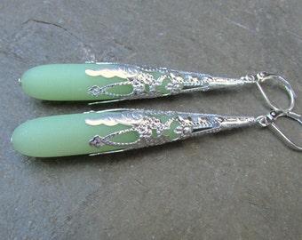 Sea foam green earrings sea glass earrings extra long  earrings  beach glass jewelry  teardrop silver cone