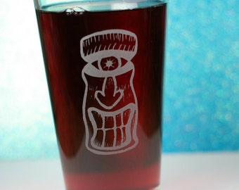 Cyclops Tiki Etched Sandblasted Pint Glass, tiki gift, holiday gift, gift under 20