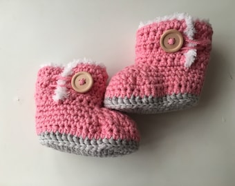 Crochet booties, Crochet baby booties, Pink booties, Baby girl booties, Baby shoes, Photo prop, Baby booties, Baby ugg boots, Baby clothes